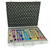 Sound healing tuning fork attaché case set. Contains eight colored tuning forks and a mallet.