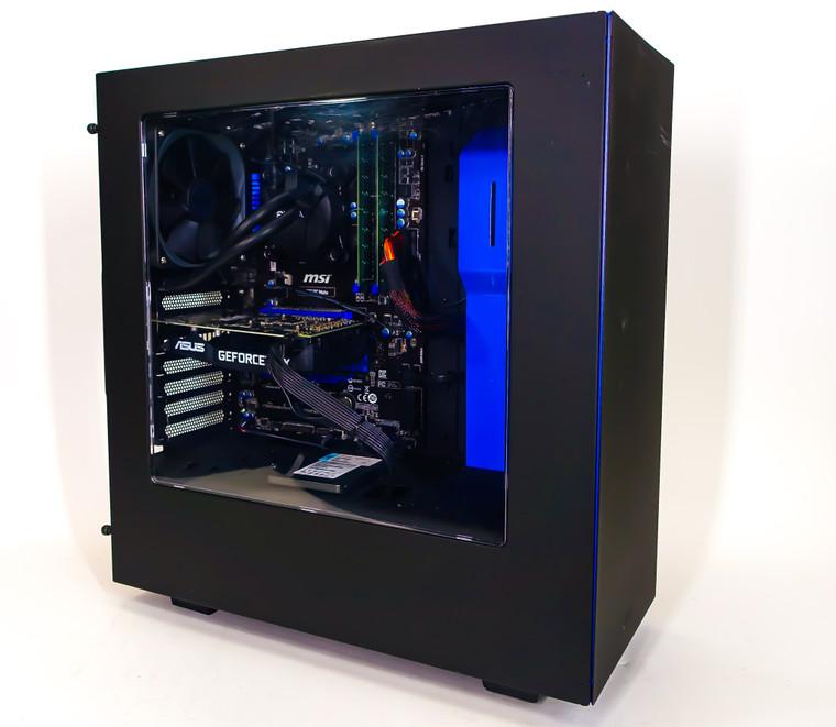 "Custom Gaming PC Computer i5-4690K 3.5 GHz 16 GB RAM 512GB 2.5"" SSD GTX 1660 6GB NZXT S340 Black/Blue Reconditioned"