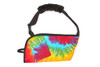 Rainbow TieDye with Black Trim and OPTIONAL Comfort Strap and OPTIONAL Pocket. Please note due to yields and patterns your color variation may be different.  You could receive predominantly red or  yellow or splashes of blue or orange.  Enjoy the surprise!  Please see other pictures to see the variations!