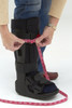 Don't forget take measurement #2 also!  Measure the top strap around your boot with your leg in it - include air pump, brackets, etc.).  Then check our sizing chart below! Please contact us with any questions.  Email us at cs@castcoverz.com  (pictures of boot/measurement is very helpful) or call us at 1(800)CASTCOVER 1(800)227-8267.
