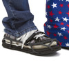 EvenUp Shoe Balancers fit over most adult flat-soled shoes. Also shown with Bootz! in USA Pride.