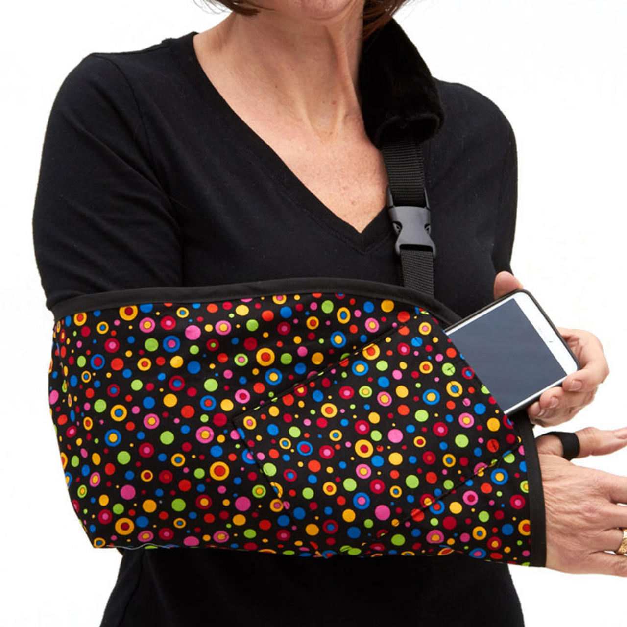 78cf87d935743e Fashionable and Functional Arm Slings in Dots To Go Fabric