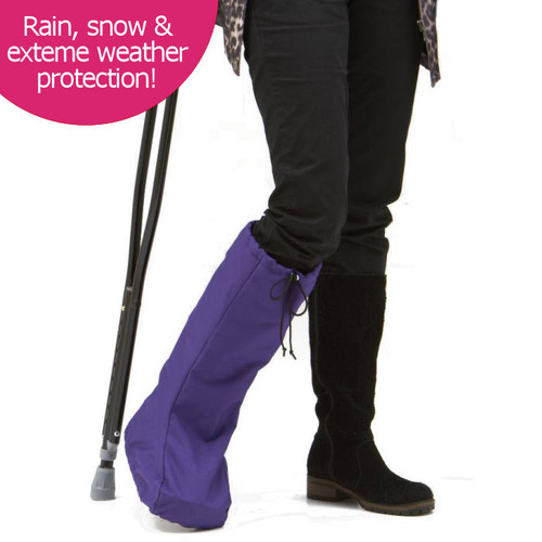 BootGuardzXtreme! in rugged Purple Denier.  BootGuardzXtreme! protects you and your orthotic walking boot from extreme weather like snow, sleet, and rain.  Optional sewn-in toasty liner for the sub-zero climates.