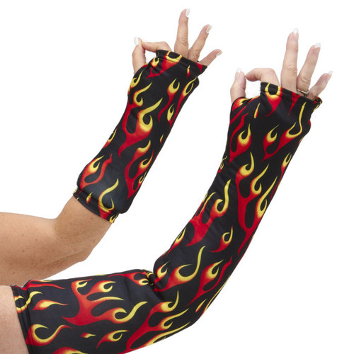 Long OR short arm cast cover with red, orange, and yellow flames on a black background.