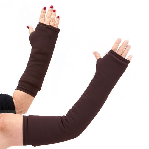 Our long and short arm cast cover in a solid, warm, rich, chocolate brown.