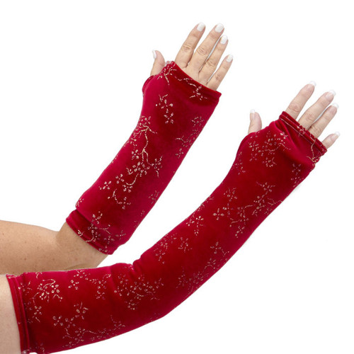 This luscious arm cast cover in ruby red velvet fabric adorned with gold hologram overlay ivy pattern glams up your arm cast. Available in long and short arm styles.