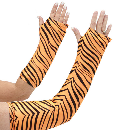 Long and short arm cast cover in a vibrant orange and black animal print.
