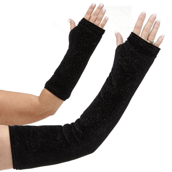 Long and short arm cast cover in classic solid black adorned with silver sparkles.