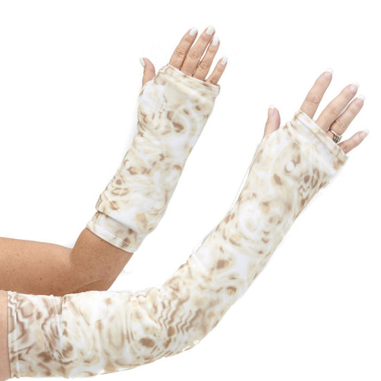 Long and short arm cast cover in warm and creamy cappuccino style print.