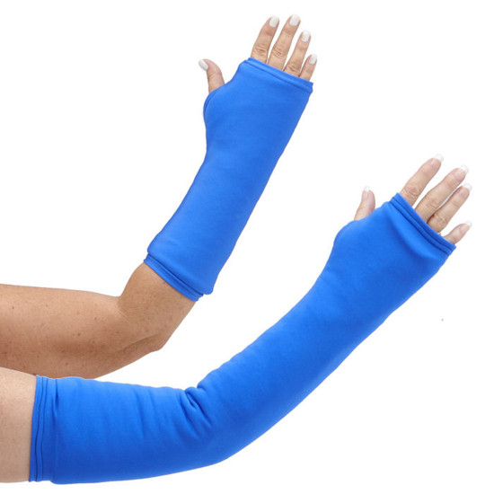 Long and short arm cast cover in bright blue.