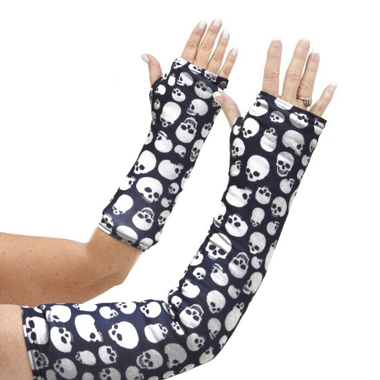 Long and short arm cast cover with spooky skulls on a black background.  Perfect for Halloween or hard core skull lovers.
