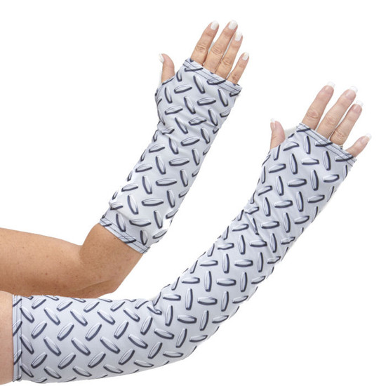 Long and short arm cast cover in an industrial diamond plate pattern.