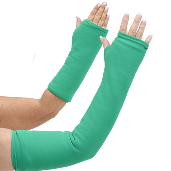 Long and short arm cast cover in bright green.