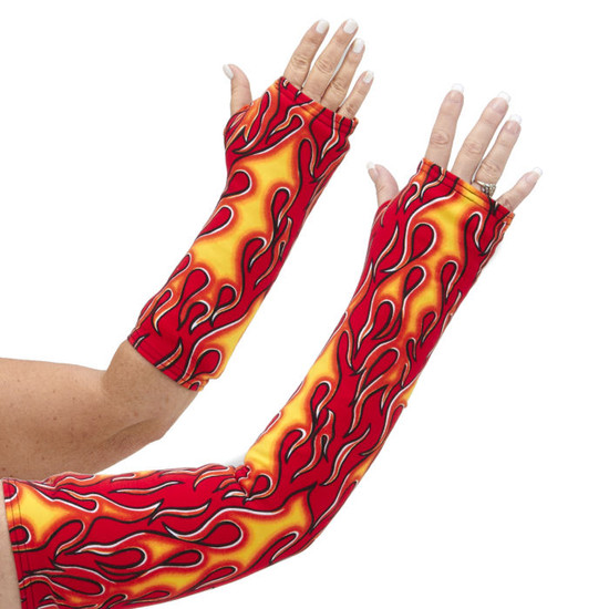 Long OR short arm cast cover with red, orange, and yellow flames on an on-fire red background.