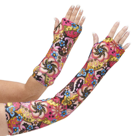 Long and short arm cast cover in hues of yellows, rosey pinks, black for contrast and pops of blues.  One of our most popular designs.