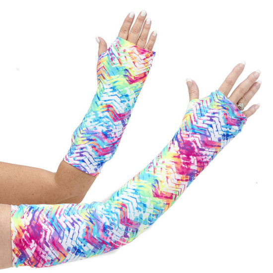 Bright bold colors in a fun geometric print for both our long and short arm cast cover.  Best seller!