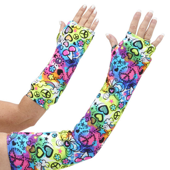 In the Top 5 of our Best Sellers. Bright neons, bold black, stars, cherries, flowers, and peace signs all come together in a FUN arm cast cover, available in both long and short styles.