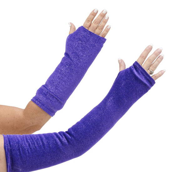 Cover your arm cast cover with this yummy purple velour fabric with silver sprinkles. May leave a slight trail of fairy dust. Available in both long and short arm styles.