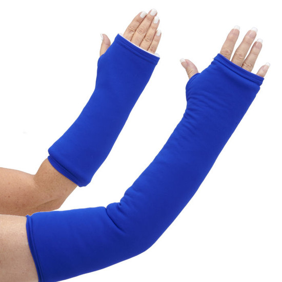 A deep blue arm cast cover. Not quite Navy, not quite bright blue, not quite postal blue either. Just a good solid deep blue arm cast cover.  Available in both long and short arm styles.