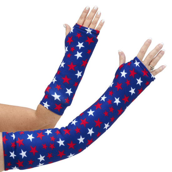 Red and white stars on a navy blue background shows off your patriotic American pride! Available in long and short arm styles.