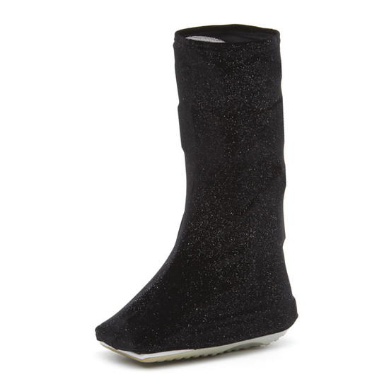 VERY POPULAR Fabric!  Sprinkles of bling (silver) on stretchy black velvet.  If you want elegance for your boot cover this is the perfect selection (or Evening Lace). :)