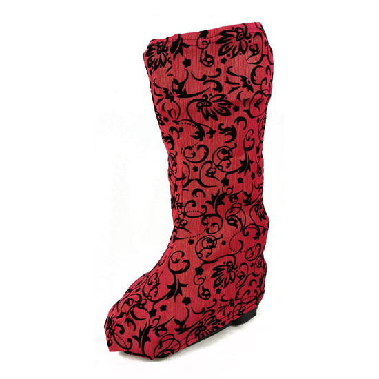 A rose colored background with barely-there strands of gold compliment the black flocked scroll pattern.  Gorgeous fabric.  For the sumptuous-minded boot wearer. :)