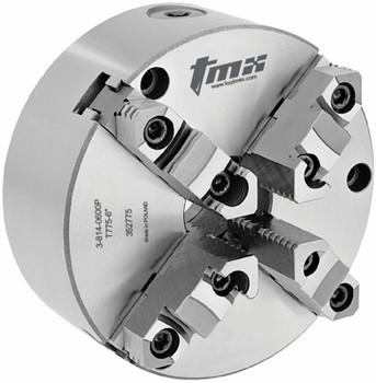 "TMX 6"" 4 Jaw Self Centering Manual Chuck Plain Back Front Mount 3-814-0600P"