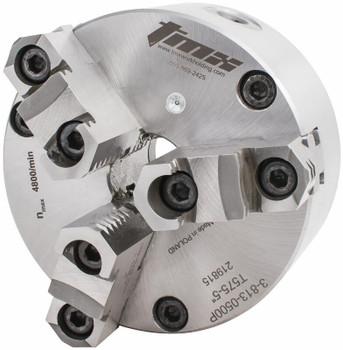 "TMX 6"" 3 Jaw Self Centering Manual Chuck Plain Back Front Mount 3-813-0600P"