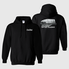 Black Hanes hoodie with Con-Tech's HP drum logo, adult sizes