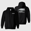 Black Hanes hoodie with Con-Tech's HP drum logo, youth sizes