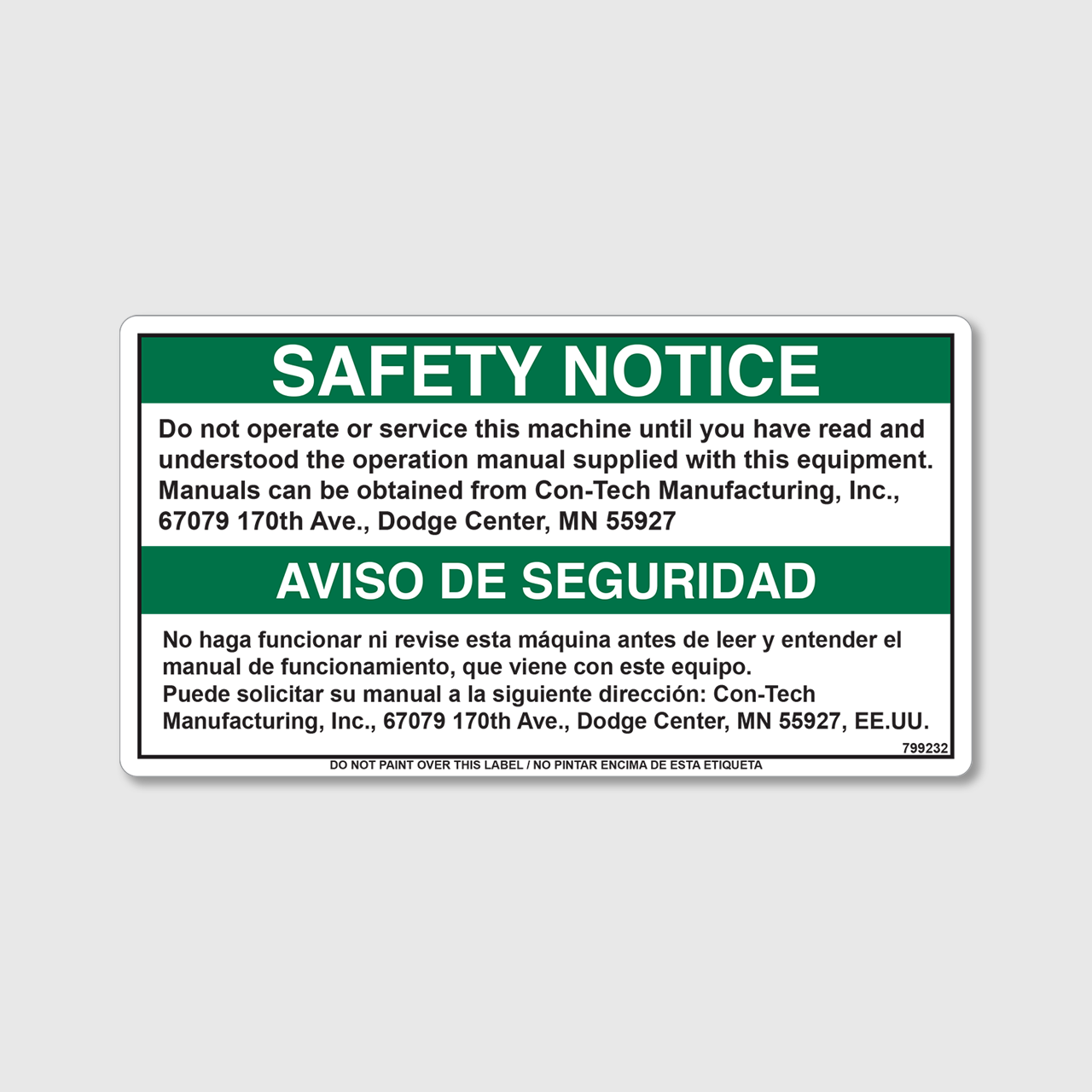 Safety Notice - Do Not Operate Decal - Con-Tech Manufacturing