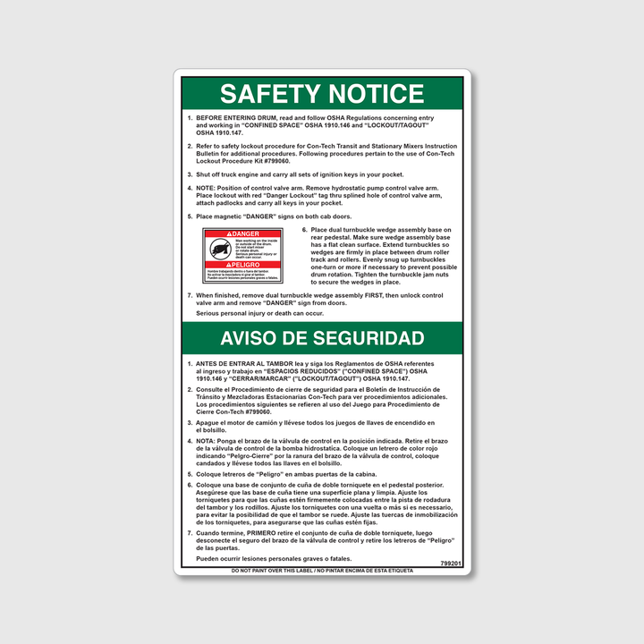 Safety Notice - Confined Space Decal