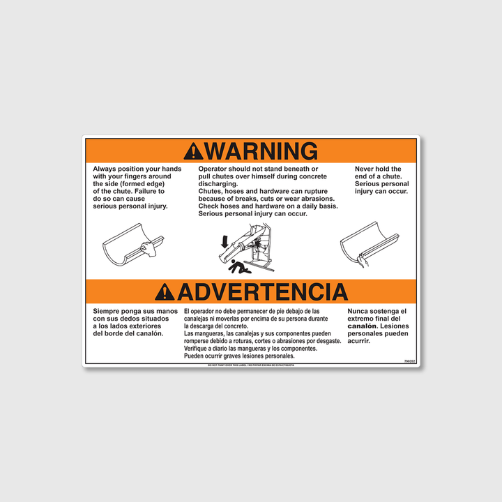Warning! Extension Chute Decal