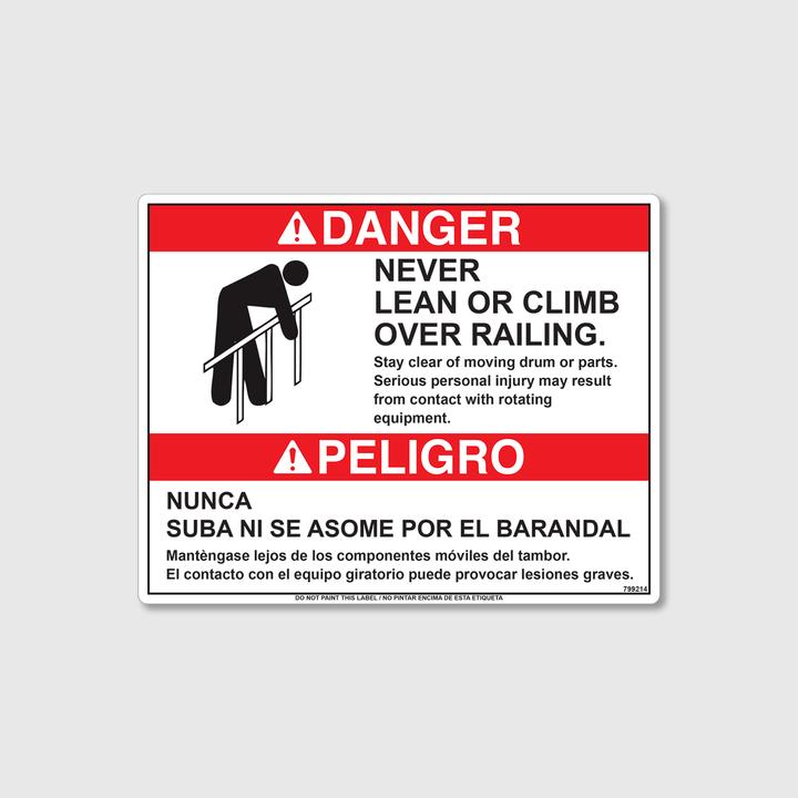 Danger! Never Climb Decal
