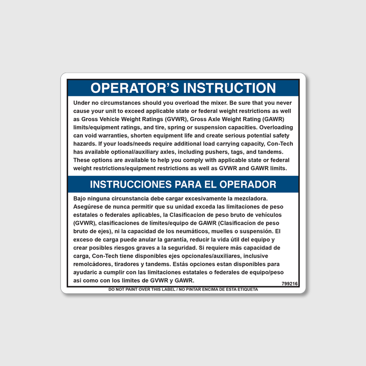 Instruction - Do Not Overload Decal