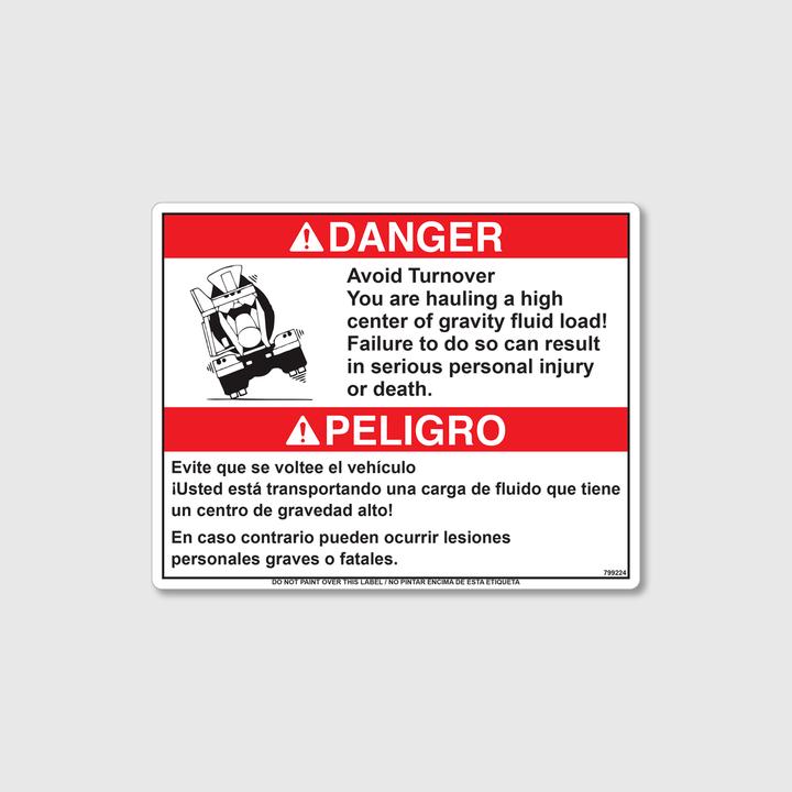 Danger! High Center of Gravity Decal