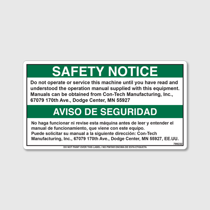 Safety Notice - Do Not Operate Decal
