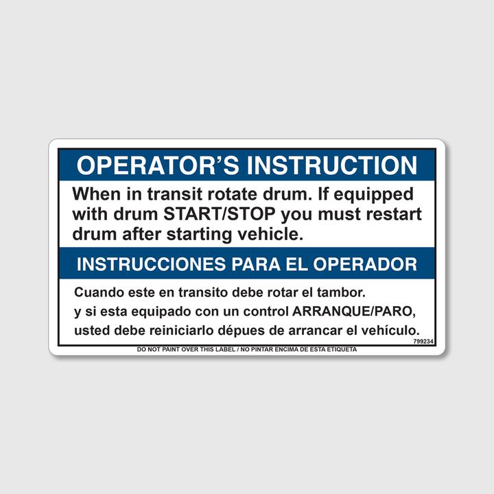 Operator's Instruction