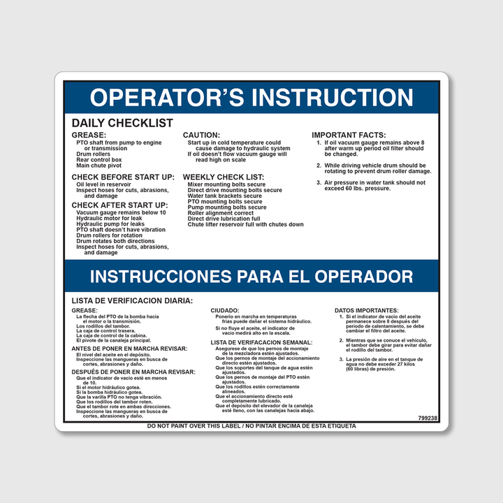 Instructions - Daily Checklist Decal
