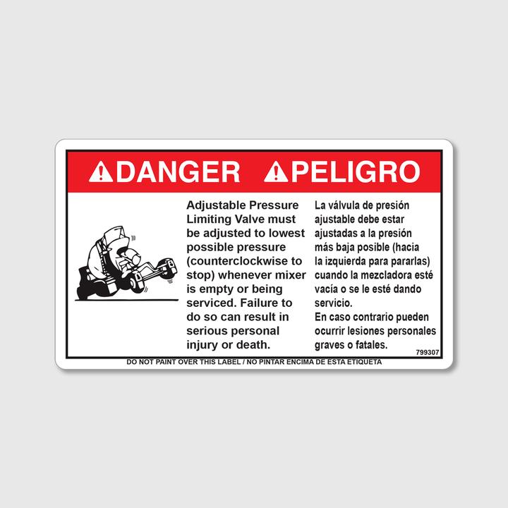 Danger! Adj. Pressure Valve Decal