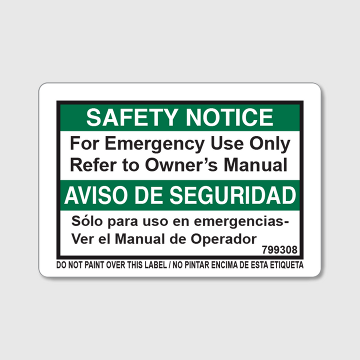 Safety Notice - Emergency Decal