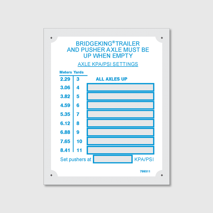 BK 3-11 Yd Axle Pressure Placard