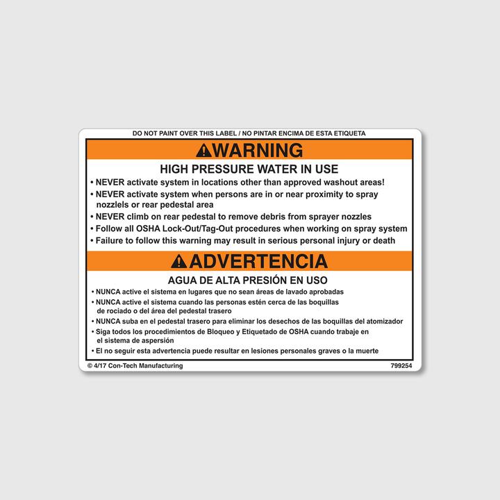 Warning! High Pressure Water