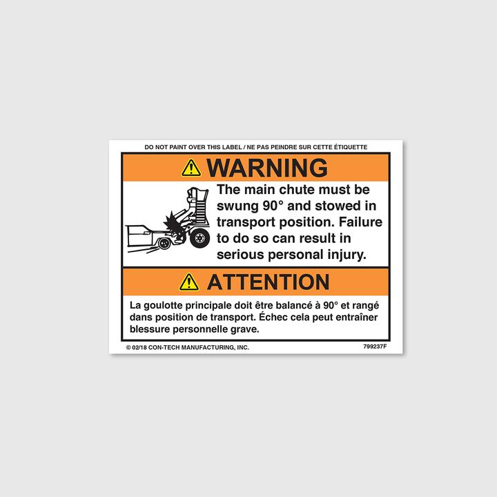 Warning! Main Chute Decal (French)