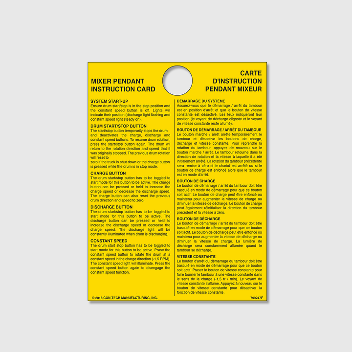 Mixer Pendant Instruction Card (French)