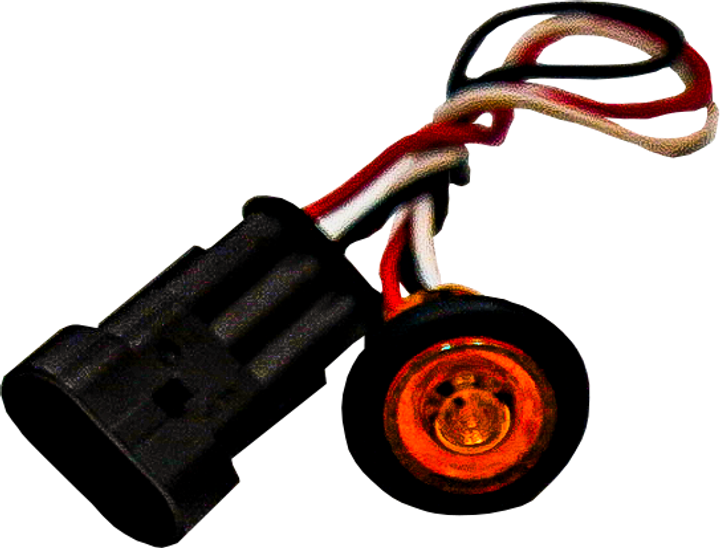 """Side marker light 3/4"""" LED button amber 3 wire."""