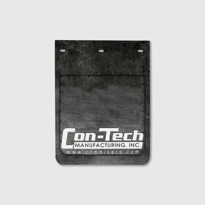 "Con-Tech black mudflap 12"" x 15""."