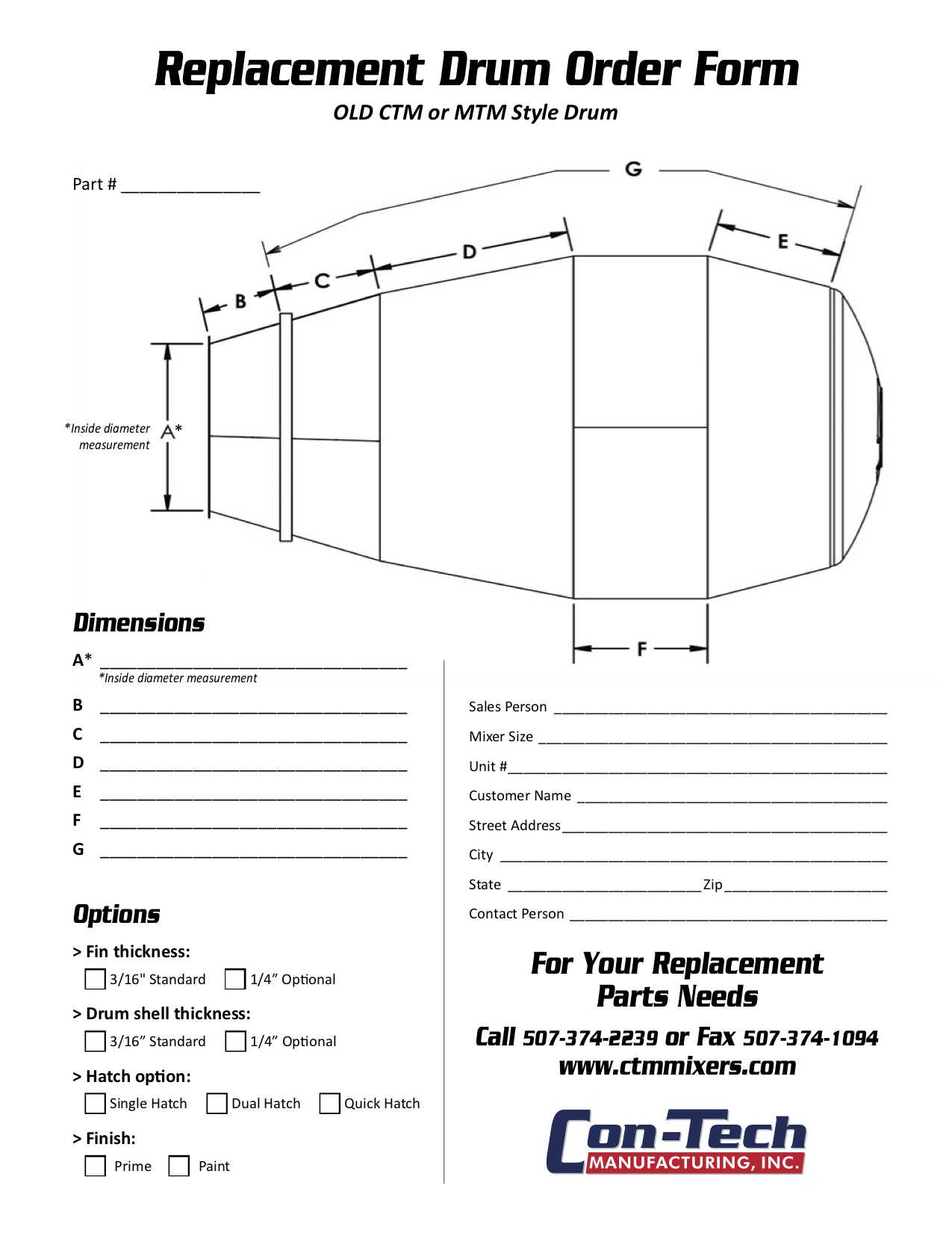 Old Style CTM or MTM Replacement Order Form