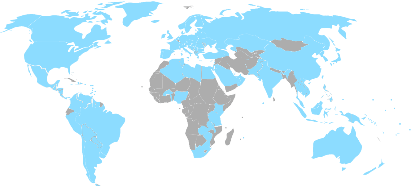 map showing countries shipped to