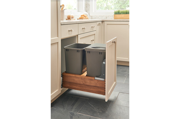 Rev-A-Shelf 4WC Series Bottom Mount Walnut Pull-Out Waste Container with Soft Close